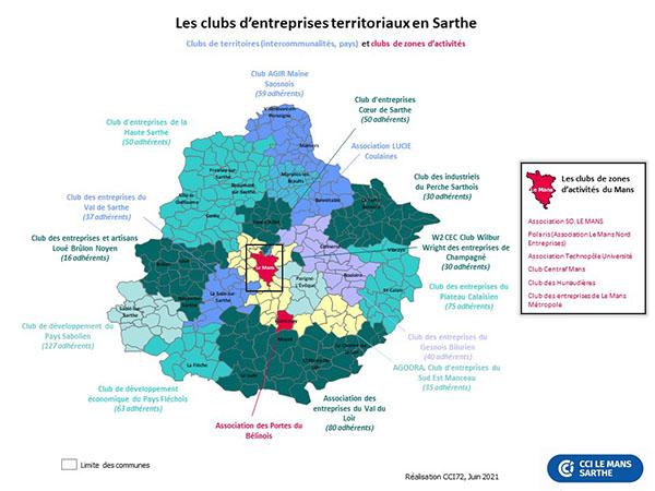 Carte des clubs d'entreprises territoriaux en Sarthe