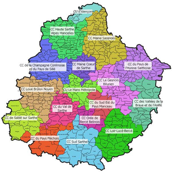 Carte des communautés de communes sarthoises