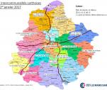 Carte des intercommunalités sarthoises au 1er janvier 2017
